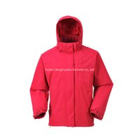 228T Nylon Taslon With PU Coating Red Waterproof Windbreaker Jacket