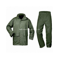 PU Polyester Tricot Olive Green Waterproof Rain Suit