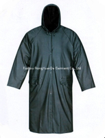 PU Polyester Tricot Olive Green Waterproof Long Raincoat